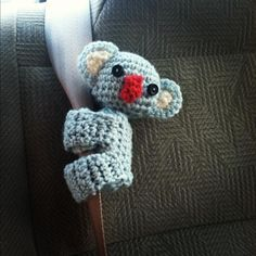 just finished this cute little seatbelt  hugger koala, adapted from this pattern: www.womansday.com...