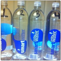a way to keep track of water intake. Instead of drinking out of one large water jug, divide water bottles into 2-4 1 liter bottles. (I use to only use one 1 liter bottle and refill it 3 times a day but I would loose count so what better way to have four bottles labeled and ready to go!)