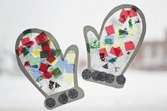Winter Mitten Craft for Preschoolers using Contact Paper.