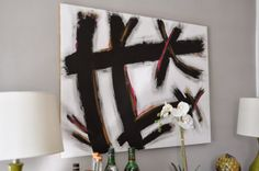 DIY on how to paint this abstract art (West Elm Hack).