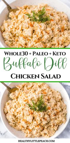 A spicy and creamy buffalo dill chicken salad that is Whole30, Paleo and Keto compliant. This salad is perfect for meal prep, family gathering or party. #chickensalad #whole30 #paleo #keto #ketorecipes #whole30recipes #paleo #paleorecipes #buffalo #buffalodill #frankshotsauce