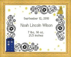TARDIS & Dalek Baby Birth Record Cross Stitch by HappyCupcakePlush