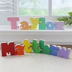 Wow! This colorful name puzzle is only $5.95 per letter! Create one for your son or daughter in pastel or primary colors to help teach them how to spell their name and for a great piece of art for their rooms!