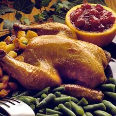 Roast the savory dried fruit, onion-flavored croutons, and green onion stuffing in the Cornish hen or on the side. Serve the main dish recipe with cranberry sauce for a traditional flavor combination.