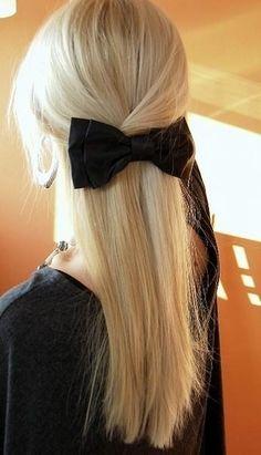 long blonde hair black bow