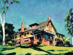 Marston House Balboa Park San Diego, painting by RD Riccoboni