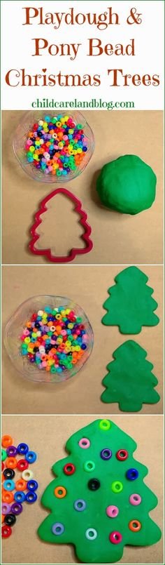 What a great idea to do with salt dough that hardens to create ornaments! #carepackage -- Playdough and Pony Bead Christmas Trees ... a favorite for fine motor and math centers.