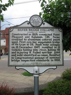Silver Bridge - memorial sign Point Pleasant, WV