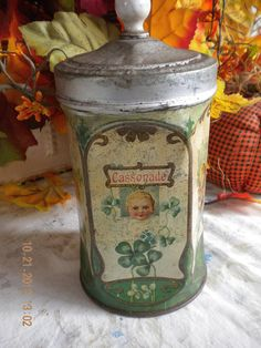 SALE Early 1900s French Enamel Tin Canister with by euromercantile, $100.00