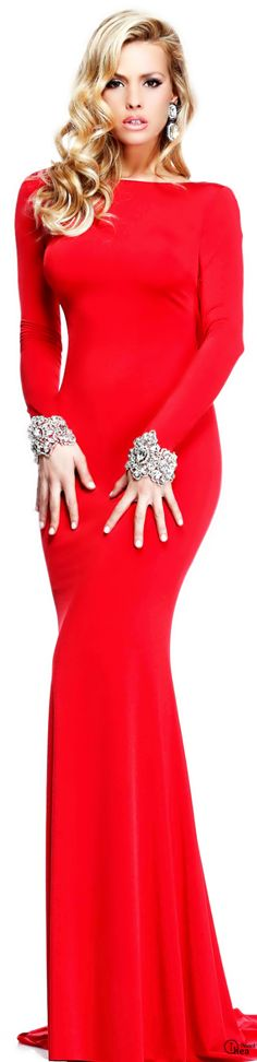Red gown with embellished cuffs | The House of Beccaria~