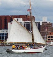 Momentum, a 44 foot Friendship Sloop, is used as an educational platform to teach students the value of teamwork.