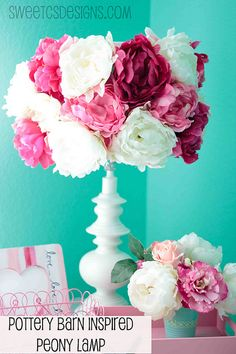 Easy and quick peony lampshade @sweetcsdesigns.com