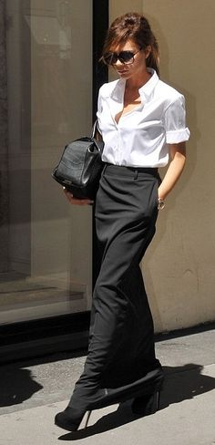 VB dress shirts, the office, white shirts, victoria beckham, long skirts, trouser skirt, black white, pencil skirts, maxi skirts