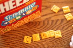 Scrabble Cheez-Its <-- My 5-year-old is learning to read and *loves* making nonsense words with these. Great way to bring fun and play to learning letter sounds!
