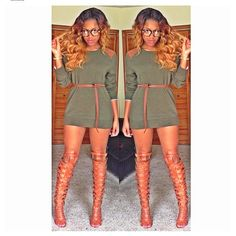 Sweater Dress with gladiator heels