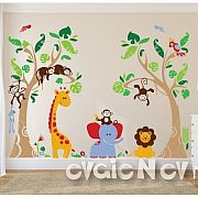 Tropical Wall Decals – Jungle Safari Animal Large Wall Stickers – evgie