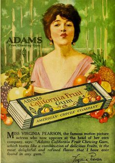 Is it just me, or does she look the tiniest bit like Margaret from Boardwalk Empire? #Edwardian #1910s #food #gum #ad