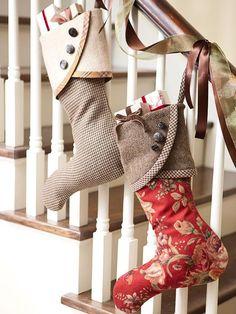 DIY stockings...burlap, buttons