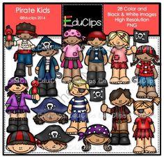 Pirate Kids Clip Art Bundle from Educlips on TeachersNotebook.com -  (28 pages)  - Pirate Kids Clip Art Bundle