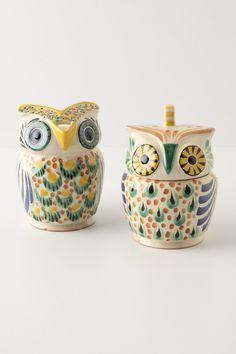 Mr. & Mrs. Owl Sugar & Creamer