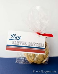 Hey, Batter Batter!  Such a cute treat tag!  Perfect for when you're in charge of the team treat or even for end of season gifts or coaches gift!! #overthebigmoon