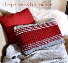 a red goodwill sweater pillow for christmas