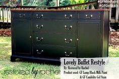 Restored by Rachel created this stunning buffet with General Finishes Lamp Black Milk Paint and General Finishes Candlelight Gel Stain. We'd love to see your projects made with General Finishes products! Tag us with #GeneralFinishes or share with us through our facebook page. #gfmilkpaint #gfgelstain