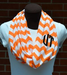 Monogrammed Chevron Infinity Scarf Orange & White Game Day - CUTE!
