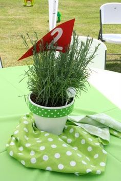 don't like the golf theme but what if there was lavender or thyme in the pots?