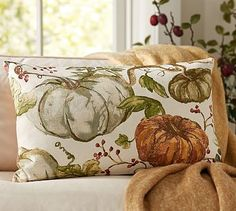 Painted Pumpkin Patch Lumbar Pillow Cover