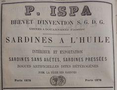 Douarnenez. Publicité P. Ispa, sardines à l'huile. 1882.