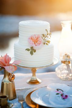 Wedding Cake | On SMP - http://www.StyleMePretty.com/utah-weddings/2014/01/07/gold-peach-mother-daughter-bridal-inspiration/ Kristina Curtis Photography