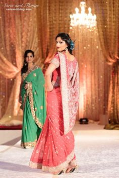 Saris and Things pink bridal sari on IndianWeddingSite.com