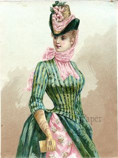5x7 Pretty Victorian Woman in Pink & Green Dress w/ Bustle Antique French Chromo