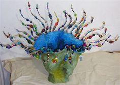 Paper mache vase-Blue venus-paper mache +mixed material \40cm tall