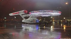 Enterprise in Christmas lights