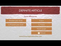 Definite Article in French LE LA LES - YouTube