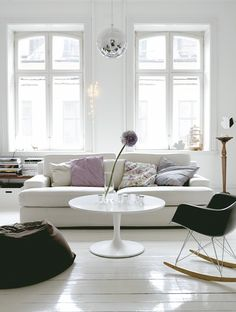 White wood floors