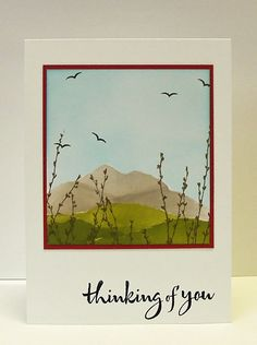 lovely scene of sponged hills and silhouette plants and birds...tutorial on the blog...