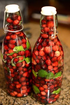 Cranberry Lime Vodka. I love infusing my own spirits. This is a great xmas gift idea!