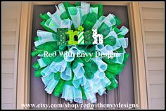 St Patrick's Day Wreath Wreath Deco Mesh by RedWithEnvyDesigns