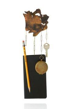 Amy Tavern - Wayfinder brass, address book, compass, pencil, a key to my parents' house