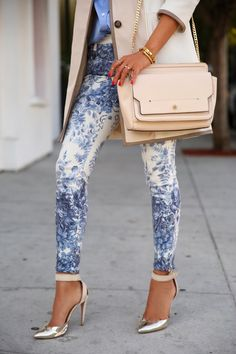 Floral Print Jeans & @ARMANI Official Official heels