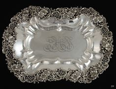 LARGE REDLICH & CO STERLING DECORATIVE SERVING TRAY