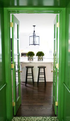 Kelly green lacquer walls and doors