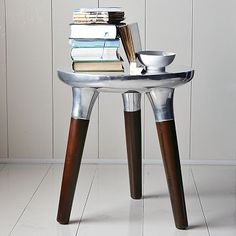 Aluminum/Wood side table