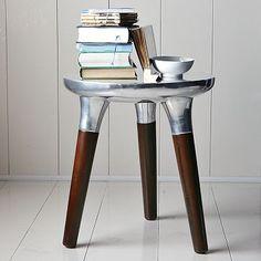 Aluminum Wood Side Table #WilliamsSonoma