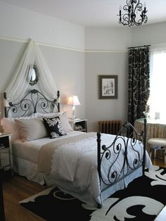 Parisian Teen Girl Room 1 by littlechamber, via Flickr I like the colour block paint on walls and draping above headboard.