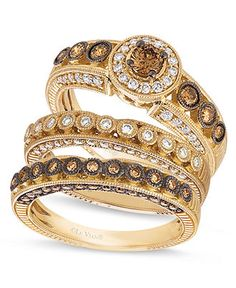 Love Chocolate Diamonds!!!  Le Vian 14k Gold Chocolate and White Diamond Stackable Rings -  Macy's