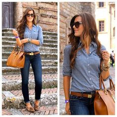Chambray, jeans, and brown accessories.